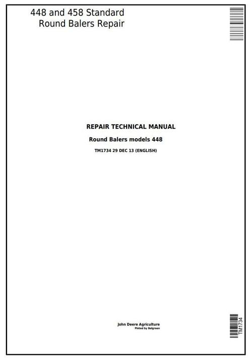 Product picture John Deere 448 and 458 Standard Hay and Forage Round Balers Service Repair Technical Manual (TM1734)