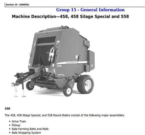 Product picture John Deere 458, 558, 458 Silage Special Round Balers Service Repair Technical Manual (TM1735)