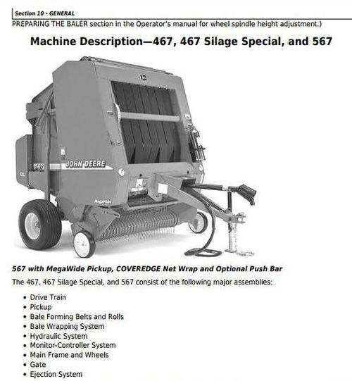 Product picture John Deere 447,457, 467 Silage Special, 547,557,567 Round Balers (SN.-300000) Repair Manual (tm1874)