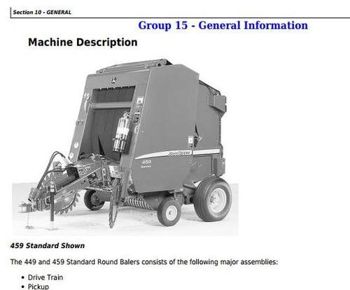 Product picture John Deere 449, 459 Standard Hay and Forage Round Balers All Inclusive Technical Manual (TM121019)