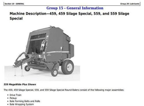Product picture John Deere 459s, 559s Silage Special; 459,559 Round Balers All Inclusive Technical Manual (TM121119)