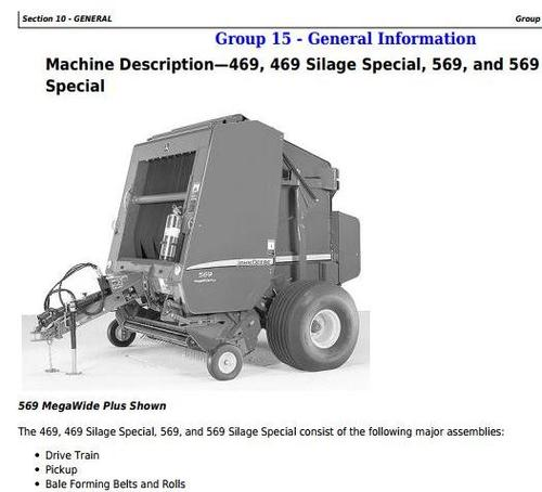 Product picture John Deere 469s, 569s Silage Special; 469, 569 Round Balers All Inclusive Technical Manual (TM121219)