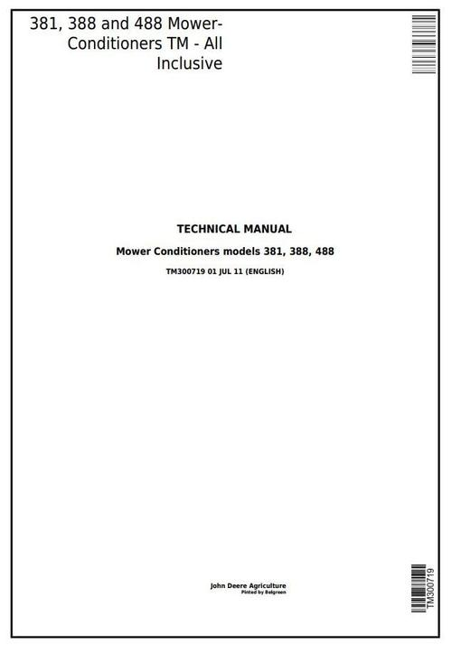 Product picture John Deere 381, 388, 488 Hay and Forage Mower-Conditioners All Inclusive Technical Manual (TM300719)